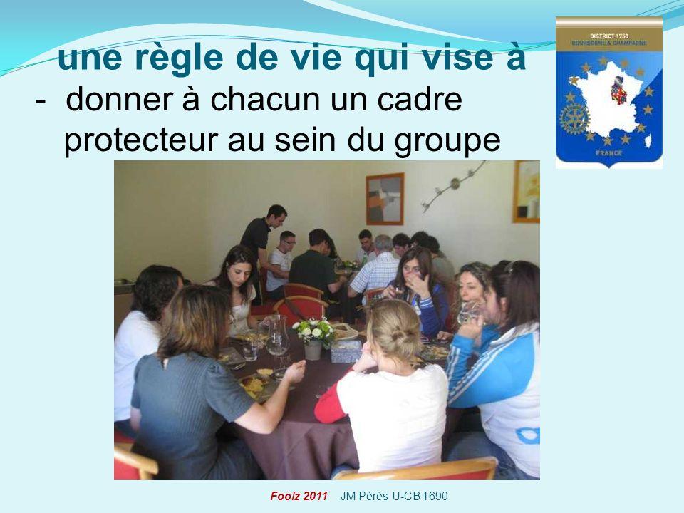 - donner à chacun un cadre protecteur au sein du groupe une règle de vie qui vise à Foolz 2011 JM Pérès U-CB 1690