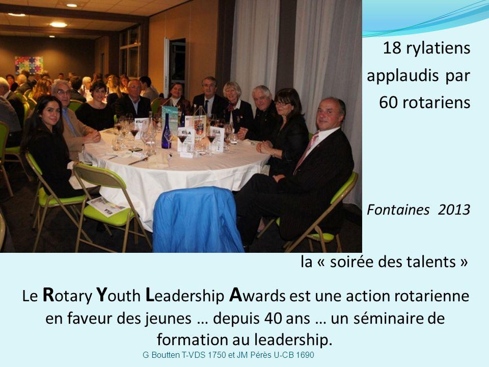 18 rylatiens applaudis par 60 rotariens Fontaines 2013 la « soirée des talents » Le R otary Y outh L eadership A wards est une action rotarienne en fa