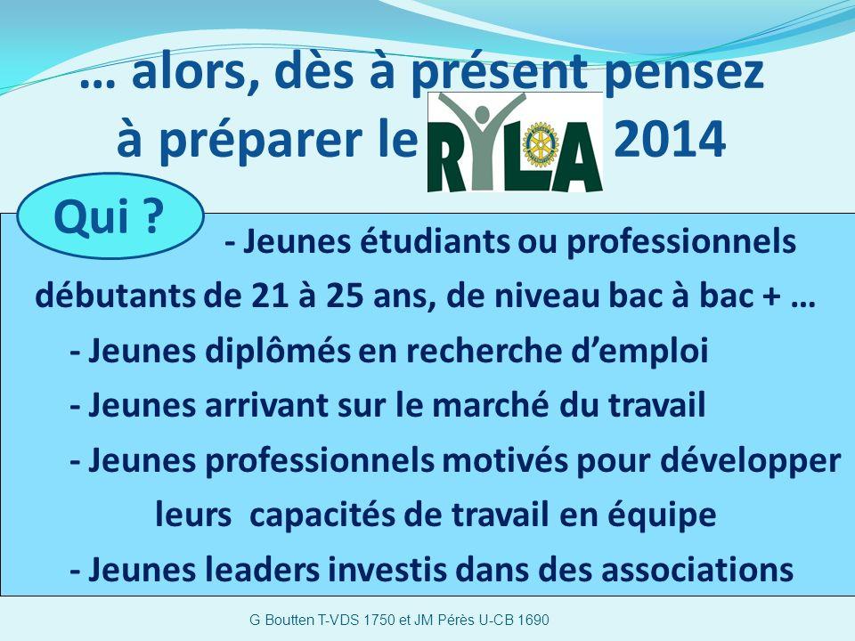 … alors, dès à présent pensez à préparer le 2014 G Boutten T-VDS 1750 et JM Pérès U-CB 1690 - Jeunes étudiants ou professionnels débutants de 21 à 25