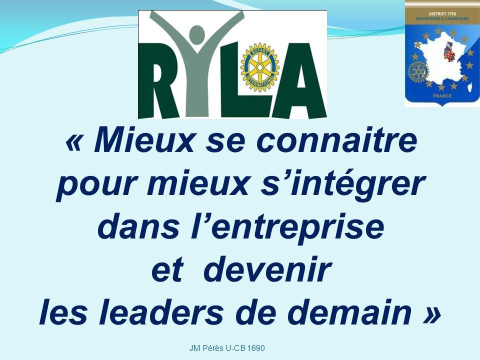 « Mieux se connaitre pour mieux sintégrer dans lentreprise et devenir les leaders de demain » JM Pérès U-CB 1690