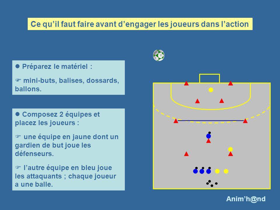 Préparez le matériel : mini-buts, balises, dossards, ballons. Composez 2 équipes et placez les joueurs : une équipe en jaune dont un gardien de but jo