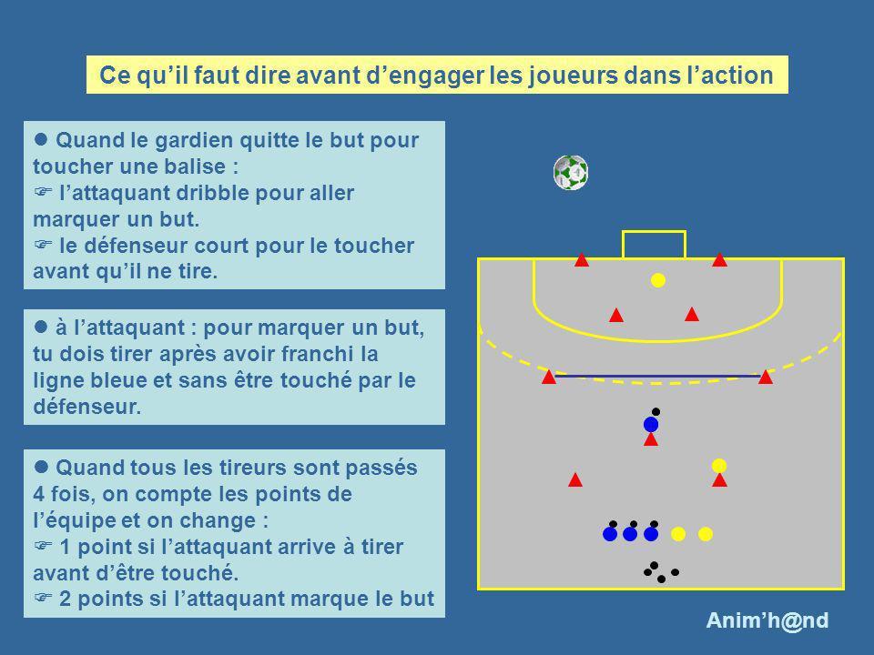 Quand le gardien quitte le but pour toucher une balise : lattaquant dribble pour aller marquer un but. le défenseur court pour le toucher avant quil n