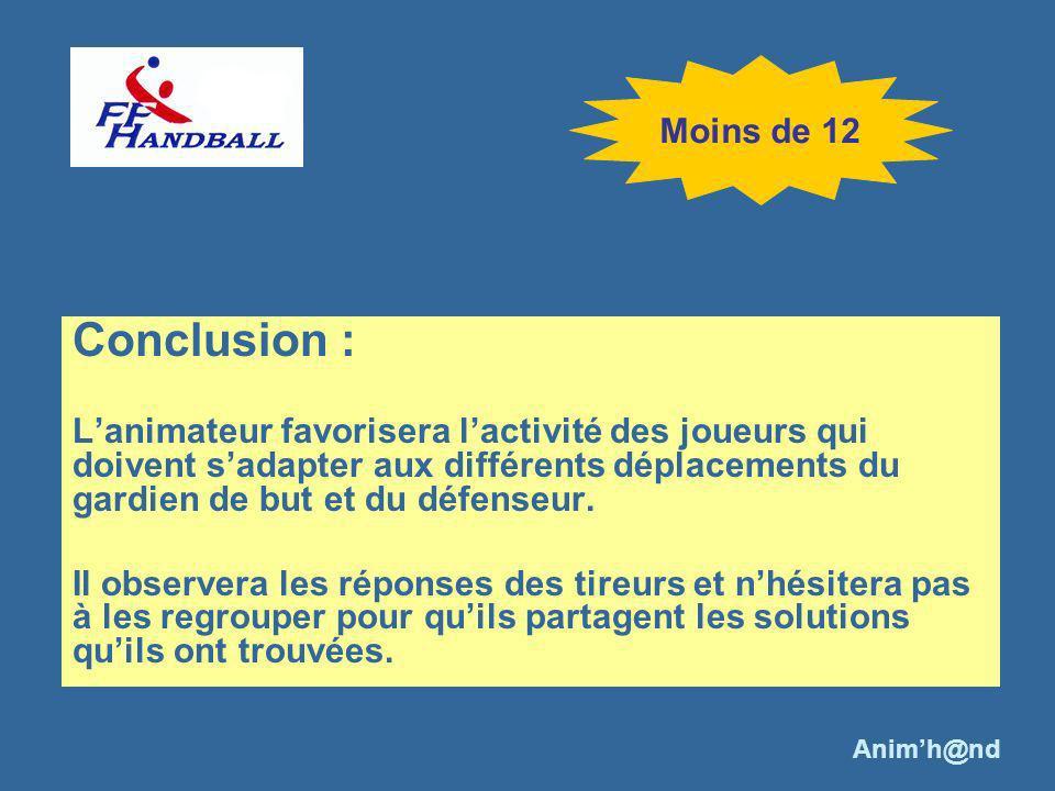 Conclusion : Lanimateur favorisera lactivité des joueurs qui doivent sadapter aux différents déplacements du gardien de but et du défenseur. Il observ