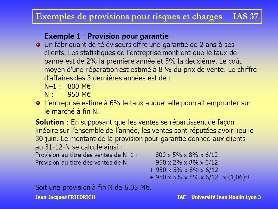 Jean-Jacques FRIEDRICH IAE – Université Jean Moulin Lyon 3 Exemples de provisions pour risques et chargesIAS 37 Exemple 1 : Provision pour garantie Un fabriquant de téléviseurs offre une garantie de 2 ans à ses clients.