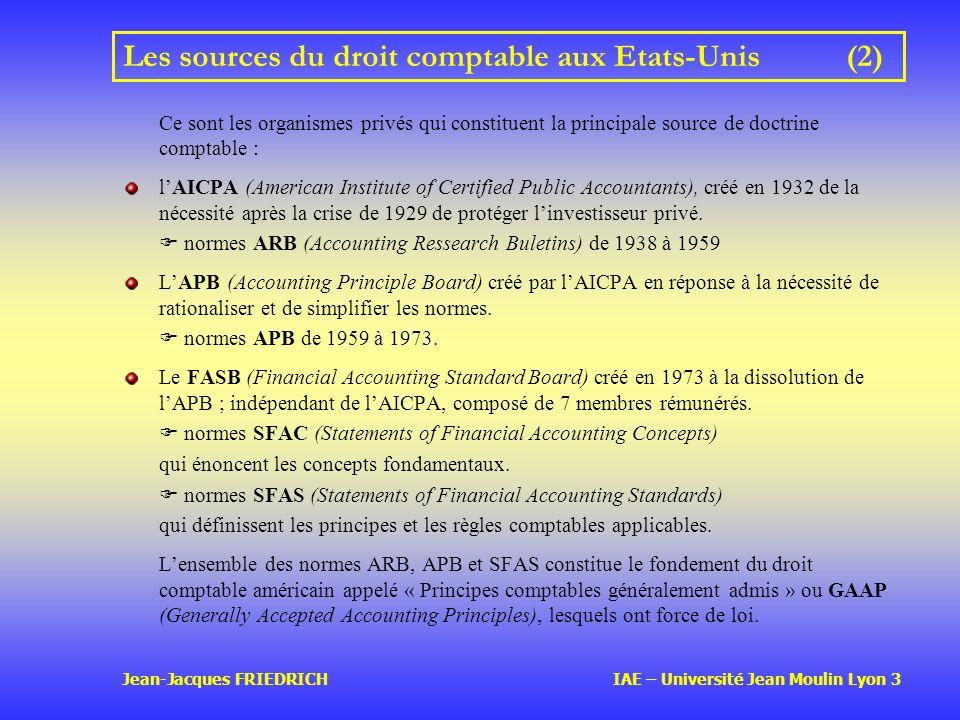 Jean-Jacques FRIEDRICH IAE – Université Jean Moulin Lyon 3 Les sources du droit comptable aux Etats-Unis(2) Ce sont les organismes privés qui constituent la principale source de doctrine comptable : lAICPA (American Institute of Certified Public Accountants), créé en 1932 de la nécessité après la crise de 1929 de protéger linvestisseur privé.