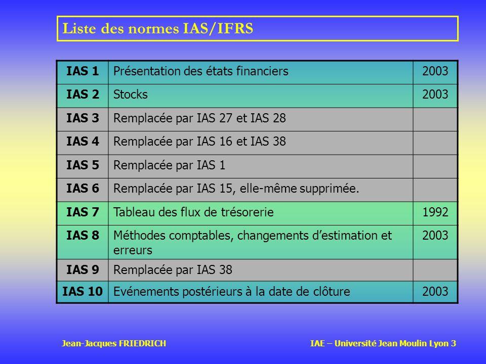 Jean-Jacques FRIEDRICH IAE – Université Jean Moulin Lyon 3 Liste des normes IAS/IFRS IAS 1Présentation des états financiers2003 IAS 2Stocks2003 IAS 3Remplacée par IAS 27 et IAS 28 IAS 4Remplacée par IAS 16 et IAS 38 IAS 5Remplacée par IAS 1 IAS 6Remplacée par IAS 15, elle-même supprimée.