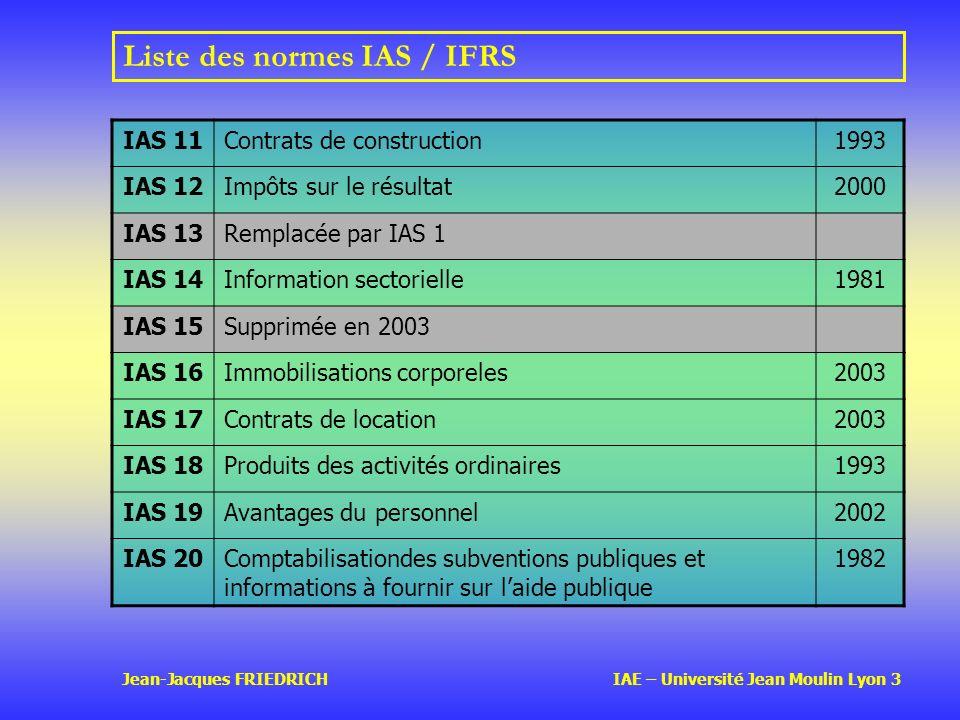 Jean-Jacques FRIEDRICH IAE – Université Jean Moulin Lyon 3 Liste des normes IAS / IFRS IAS 11Contrats de construction1993 IAS 12Impôts sur le résultat2000 IAS 13Remplacée par IAS 1 IAS 14Information sectorielle1981 IAS 15Supprimée en 2003 IAS 16Immobilisations corporeles2003 IAS 17Contrats de location2003 IAS 18Produits des activités ordinaires1993 IAS 19Avantages du personnel2002 IAS 20Comptabilisationdes subventions publiques et informations à fournir sur laide publique 1982