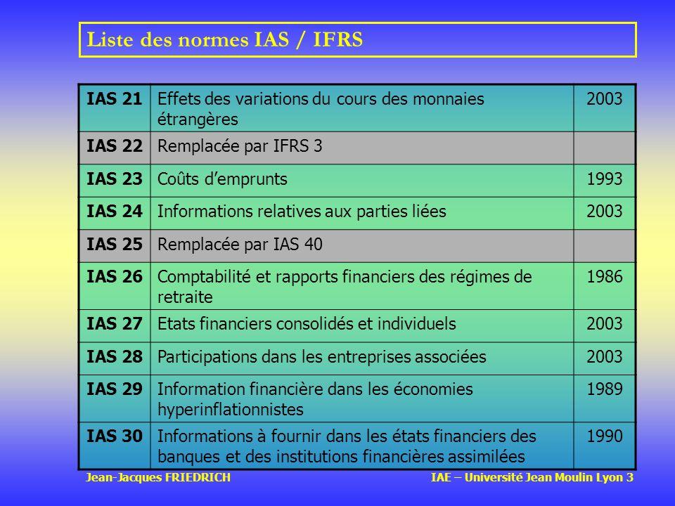 Jean-Jacques FRIEDRICH IAE – Université Jean Moulin Lyon 3 Liste des normes IAS / IFRS IAS 21Effets des variations du cours des monnaies étrangères 2003 IAS 22Remplacée par IFRS 3 IAS 23Coûts demprunts1993 IAS 24Informations relatives aux parties liées2003 IAS 25Remplacée par IAS 40 IAS 26Comptabilité et rapports financiers des régimes de retraite 1986 IAS 27Etats financiers consolidés et individuels2003 IAS 28Participations dans les entreprises associées2003 IAS 29Information financière dans les économies hyperinflationnistes 1989 IAS 30Informations à fournir dans les états financiers des banques et des institutions financières assimilées 1990
