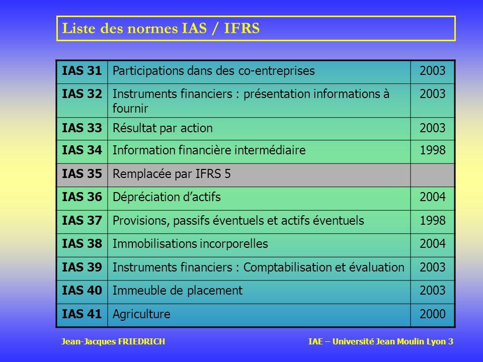 Jean-Jacques FRIEDRICH IAE – Université Jean Moulin Lyon 3 Liste des normes IAS / IFRS IAS 31Participations dans des co-entreprises2003 IAS 32Instruments financiers : présentation informations à fournir 2003 IAS 33Résultat par action2003 IAS 34Information financière intermédiaire1998 IAS 35Remplacée par IFRS 5 IAS 36Dépréciation dactifs2004 IAS 37Provisions, passifs éventuels et actifs éventuels1998 IAS 38Immobilisations incorporelles2004 IAS 39Instruments financiers : Comptabilisation et évaluation2003 IAS 40Immeuble de placement2003 IAS 41Agriculture2000