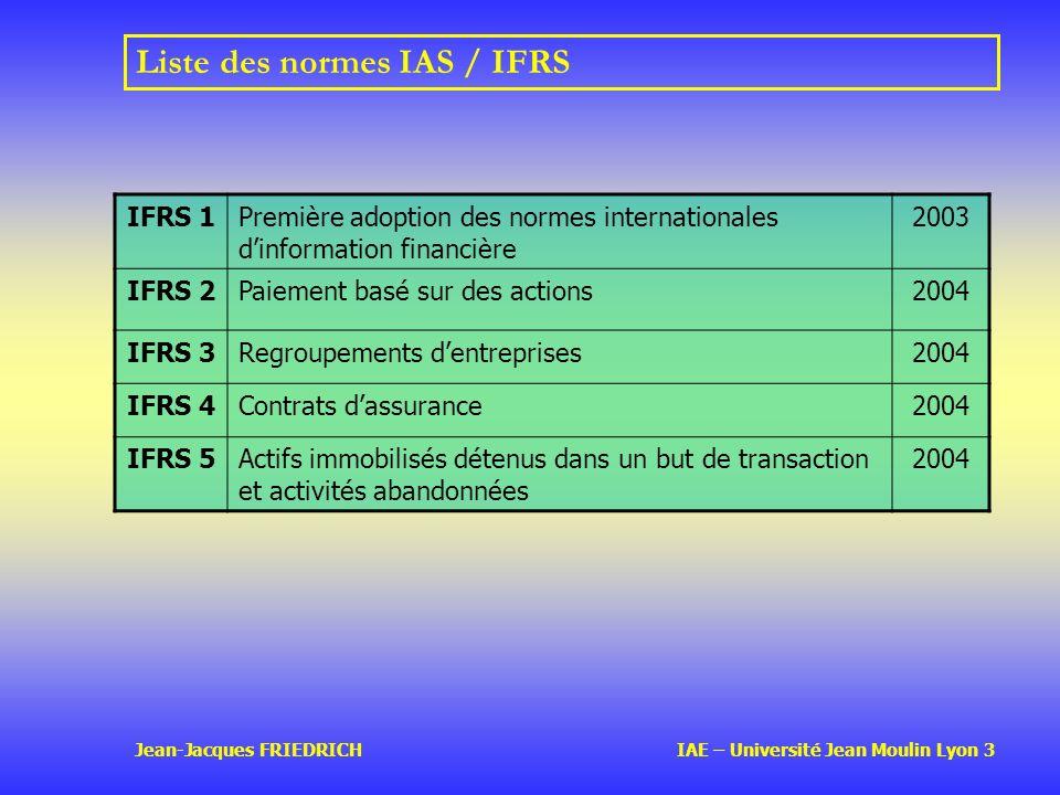Jean-Jacques FRIEDRICH IAE – Université Jean Moulin Lyon 3 Liste des normes IAS / IFRS IFRS 1Première adoption des normes internationales dinformation financière 2003 IFRS 2Paiement basé sur des actions2004 IFRS 3Regroupements dentreprises2004 IFRS 4Contrats dassurance2004 IFRS 5Actifs immobilisés détenus dans un but de transaction et activités abandonnées 2004