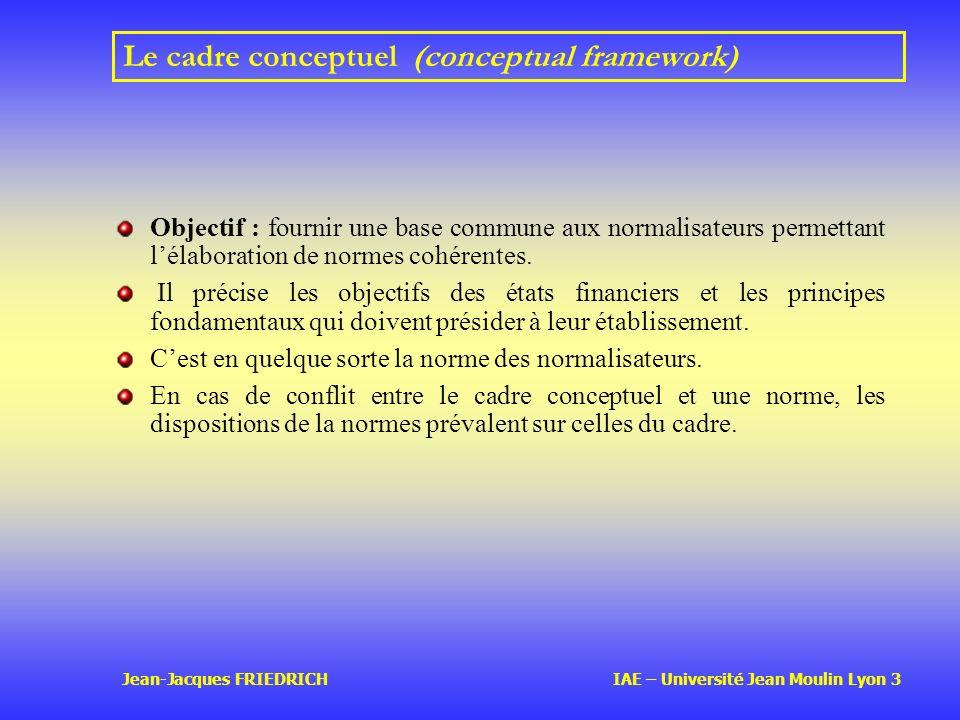 Jean-Jacques FRIEDRICH IAE – Université Jean Moulin Lyon 3 Le cadre conceptuel (conceptual framework) Objectif : fournir une base commune aux normalisateurs permettant lélaboration de normes cohérentes.