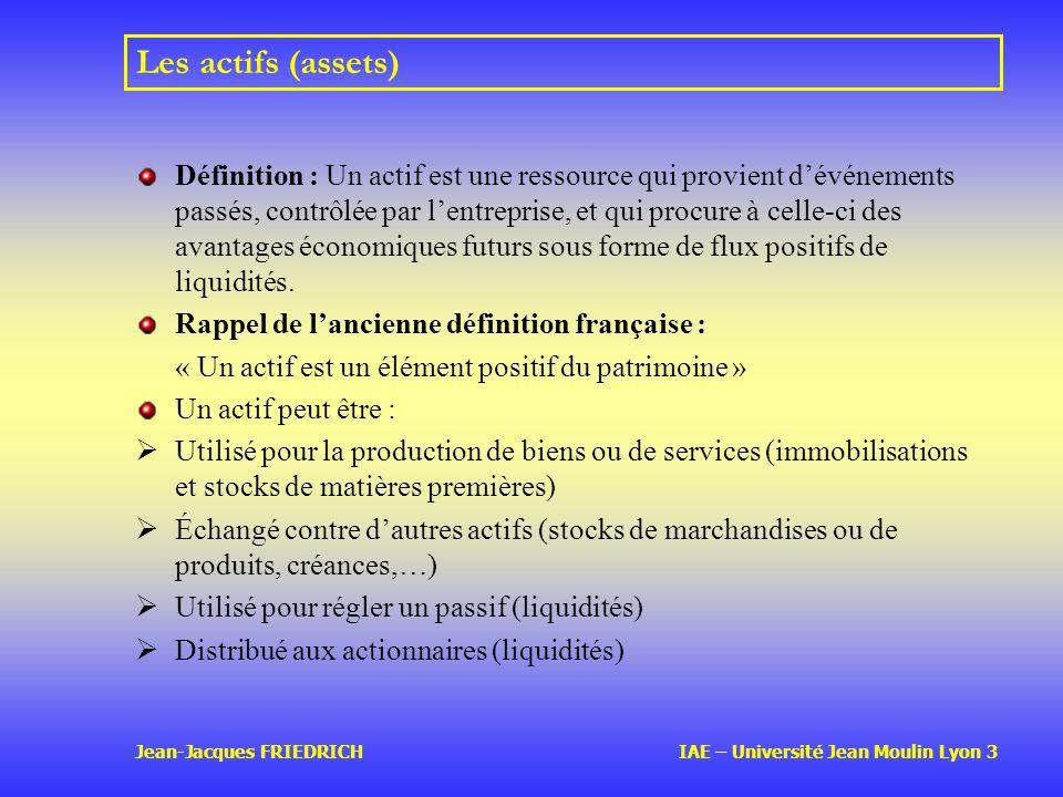 Jean-Jacques FRIEDRICH IAE – Université Jean Moulin Lyon 3 Les actifs (assets) Définition : Un actif est une ressource qui provient dévénements passés, contrôlée par lentreprise, et qui procure à celle-ci des avantages économiques futurs sous forme de flux positifs de liquidités.
