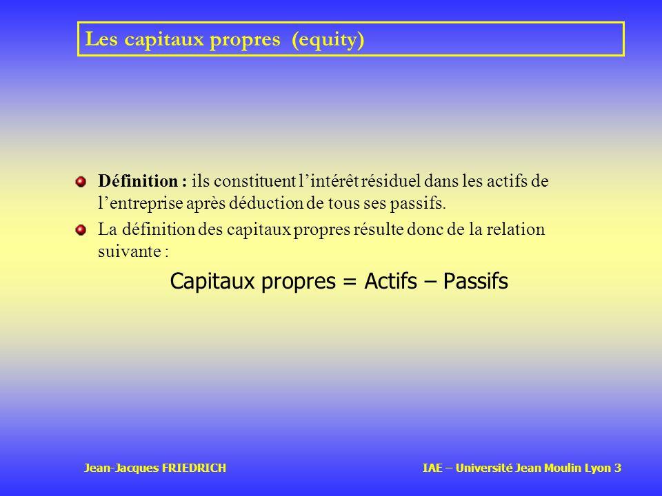 Jean-Jacques FRIEDRICH IAE – Université Jean Moulin Lyon 3 Les capitaux propres (equity) Définition : ils constituent lintérêt résiduel dans les actifs de lentreprise après déduction de tous ses passifs.