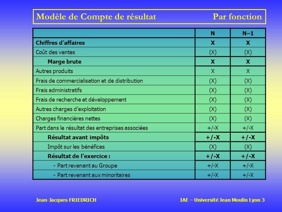 Jean-Jacques FRIEDRICH IAE – Université Jean Moulin Lyon 3 Modèle de Compte de résultatPar fonction NN–1 Chiffres daffairesXX Coût des ventes(X) Marge bruteXX Autres produitsXX Frais de commercialisation et de distribution(X) Frais administratifs(X) Frais de recherche et développement(X) Autres charges dexploitation(X) Charges financières nettes(X) Part dans le résultat des entreprises associées+/-X Résultat avant impôts+/-X Impôt sur les bénéfices(X) Résultat de lexercice :+/-X - Part revenant au Groupe+/-X - Part revenant aux minoritaires+/-X
