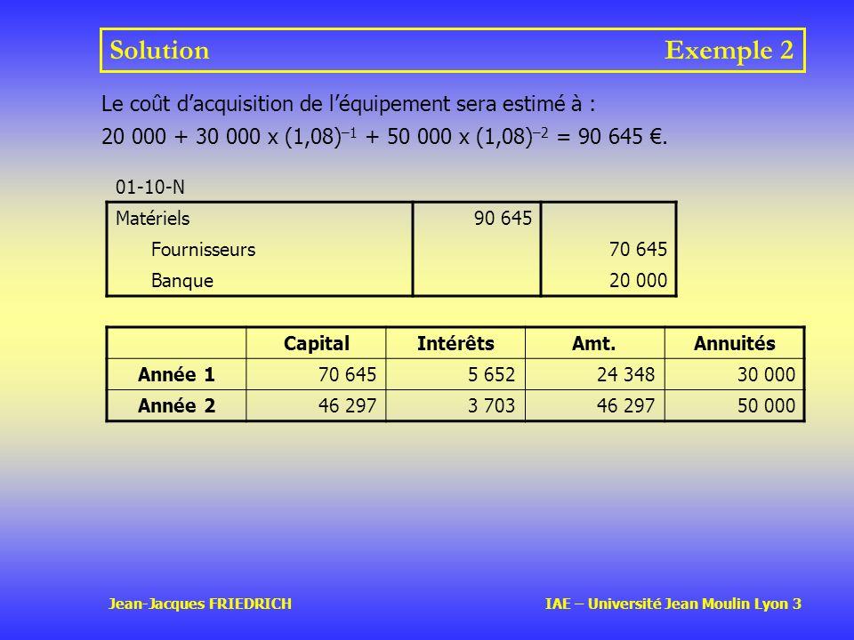 Jean-Jacques FRIEDRICH IAE – Université Jean Moulin Lyon 3 SolutionExemple 2 01-10-N Matériels90 645 Fournisseurs70 645 Banque20 000 Le coût dacquisition de léquipement sera estimé à : 20 000 + 30 000 x (1,08) –1 + 50 000 x (1,08) –2 = 90 645.