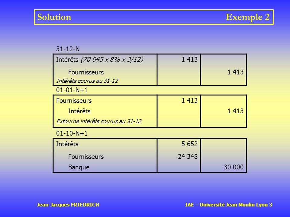 Jean-Jacques FRIEDRICH IAE – Université Jean Moulin Lyon 3 SolutionExemple 2 01-01-N+1 Fournisseurs1 413 Intérêts1 413 Extourne intérêts courus au 31-12 01-10-N+1 Intérêts5 652 Fournisseurs24 348 Banque30 000 31-12-N Intérêts (70 645 x 8% x 3/12)1 413 Fournisseurs Intérêts courus au 31-12 1 413