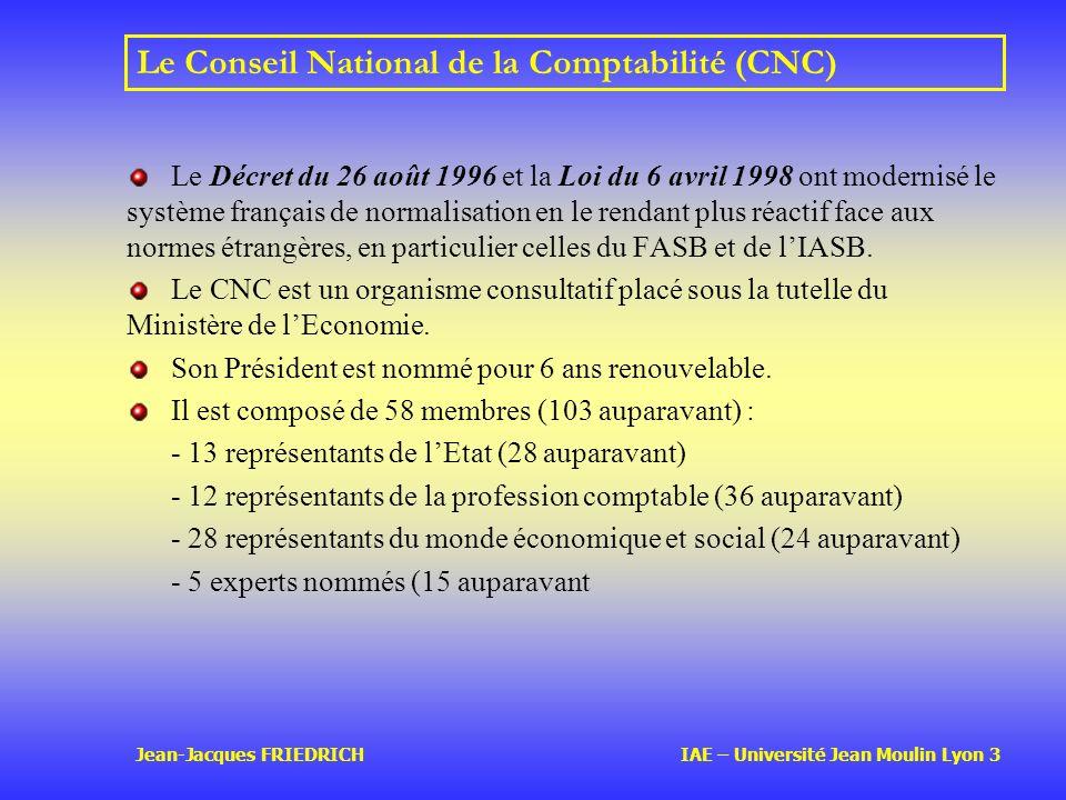 Jean-Jacques FRIEDRICH IAE – Université Jean Moulin Lyon 3 Le Conseil National de la Comptabilité (CNC) Le Décret du 26 août 1996 et la Loi du 6 avril 1998 ont modernisé le système français de normalisation en le rendant plus réactif face aux normes étrangères, en particulier celles du FASB et de lIASB.