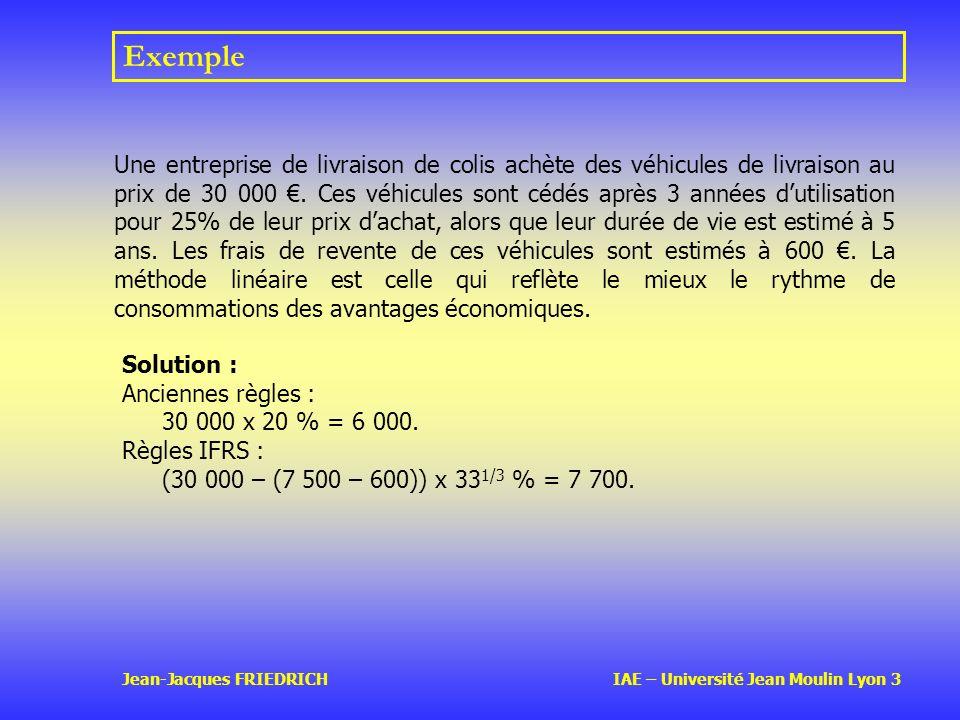 Jean-Jacques FRIEDRICH IAE – Université Jean Moulin Lyon 3 Exemple Une entreprise de livraison de colis achète des véhicules de livraison au prix de 30 000.
