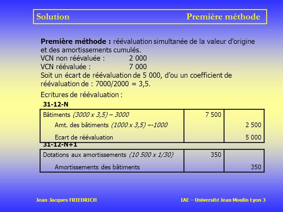 Jean-Jacques FRIEDRICH IAE – Université Jean Moulin Lyon 3 SolutionPremière méthode 31-12-N Bâtiments (3000 x 3,5) – 30007 500 Amt.