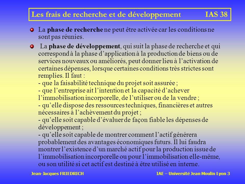 Jean-Jacques FRIEDRICH IAE – Université Jean Moulin Lyon 3 Les frais de recherche et de développementIAS 38 La phase de recherche ne peut être activée car les conditions ne sont pas réunies.