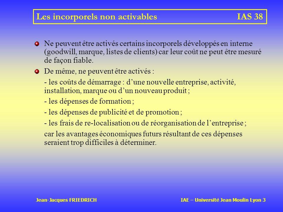 Jean-Jacques FRIEDRICH IAE – Université Jean Moulin Lyon 3 Les incorporels non activablesIAS 38 Ne peuvent être activés certains incorporels développés en interne (goodwill, marque, listes de clients) car leur coût ne peut être mesuré de façon fiable.