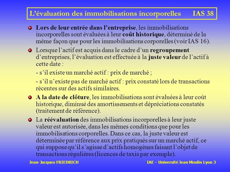 Jean-Jacques FRIEDRICH IAE – Université Jean Moulin Lyon 3 Lévaluation des immobilisations incorporellesIAS 38 Lors de leur entrée dans lentreprise, les immobilisations incorporelles sont évaluées à leur coût historique, déterminé de la même façon que pour les immobilisations corporelles (voir IAS 16).