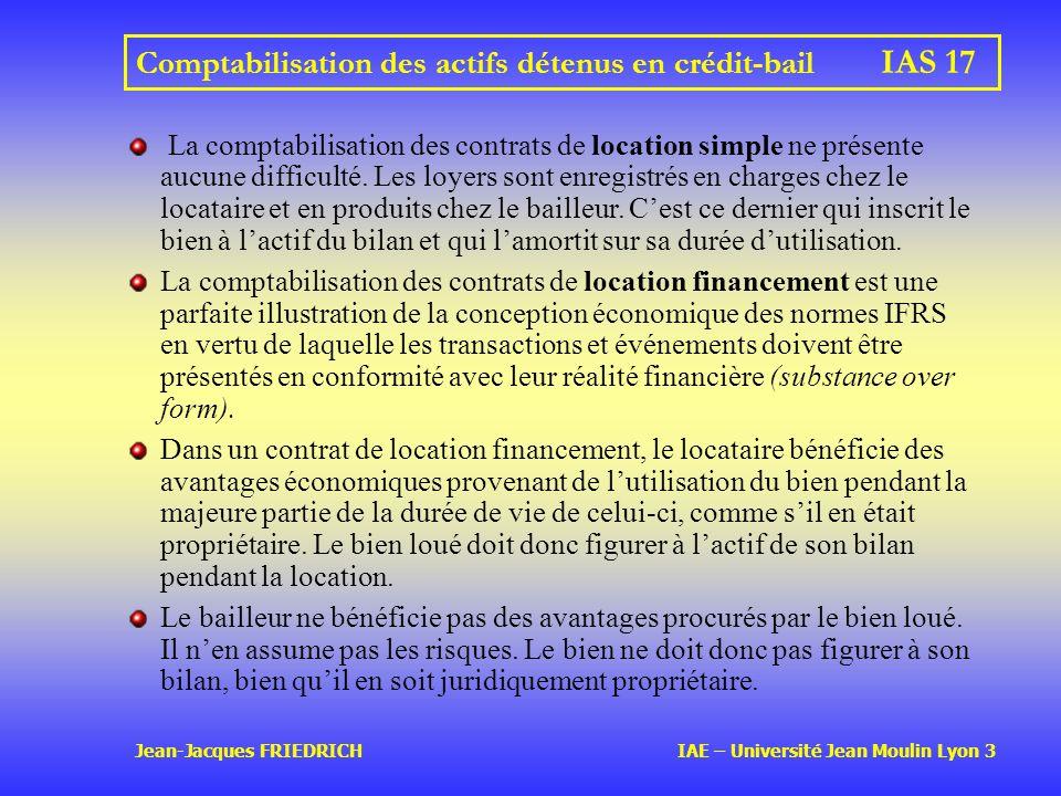 Jean-Jacques FRIEDRICH IAE – Université Jean Moulin Lyon 3 Comptabilisation des actifs détenus en crédit-bail IAS 17 La comptabilisation des contrats de location simple ne présente aucune difficulté.