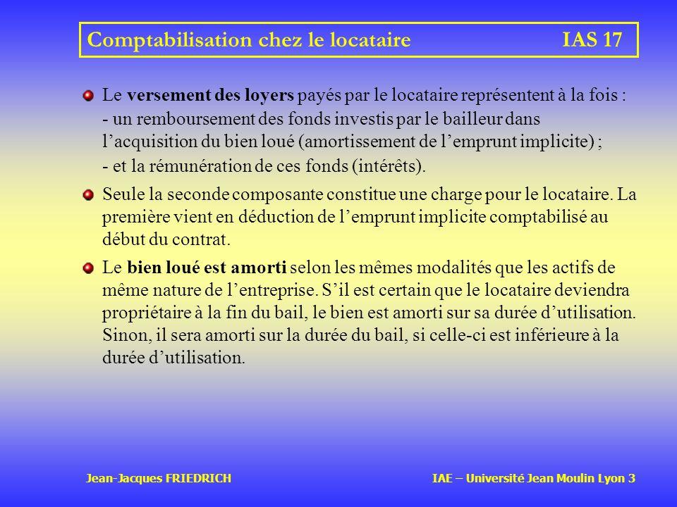 Jean-Jacques FRIEDRICH IAE – Université Jean Moulin Lyon 3 Comptabilisation chez le locataireIAS 17 Le versement des loyers payés par le locataire représentent à la fois : - un remboursement des fonds investis par le bailleur dans lacquisition du bien loué (amortissement de lemprunt implicite) ; - et la rémunération de ces fonds (intérêts).