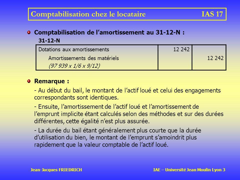Jean-Jacques FRIEDRICH IAE – Université Jean Moulin Lyon 3 Comptabilisation chez le locataireIAS 17 Comptabilisation de lamortissement au 31-12-N : 31-12-N Dotations aux amortissements12 242 Amortissements des matériels (97 939 x 1/6 x 9/12) 12 242 Remarque : - Au début du bail, le montant de lactif loué et celui des engagements correspondants sont identiques.