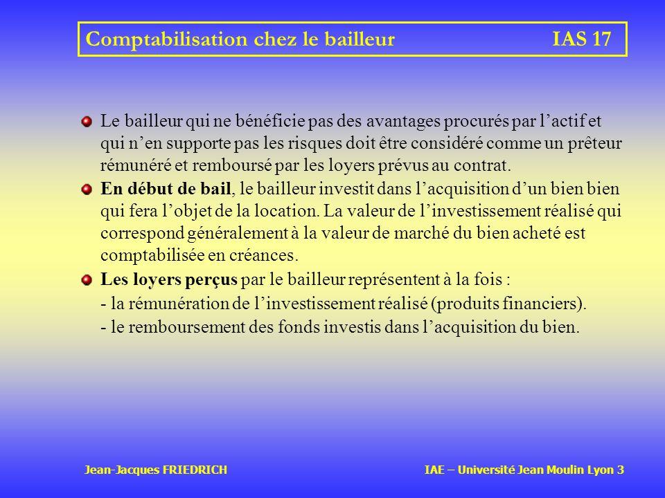 Jean-Jacques FRIEDRICH IAE – Université Jean Moulin Lyon 3 Comptabilisation chez le bailleurIAS 17 Le bailleur qui ne bénéficie pas des avantages procurés par lactif et qui nen supporte pas les risques doit être considéré comme un prêteur rémunéré et remboursé par les loyers prévus au contrat.
