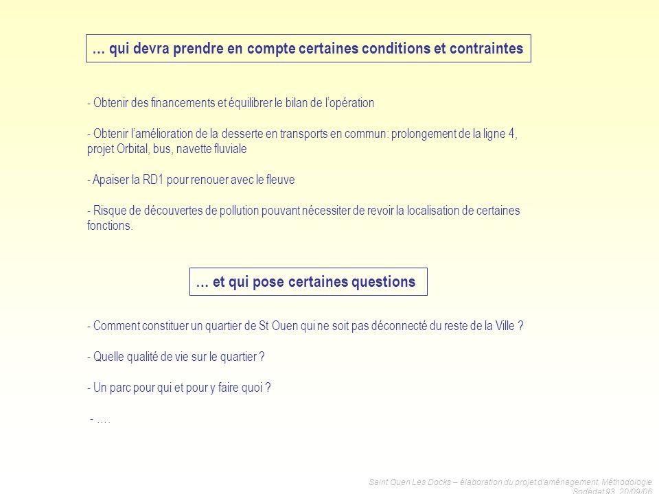 Saint Ouen Les Docks – élaboration du projet daménagement, Méthodologie Sodédat 93, 20/09/06 … qui devra prendre en compte certaines conditions et con