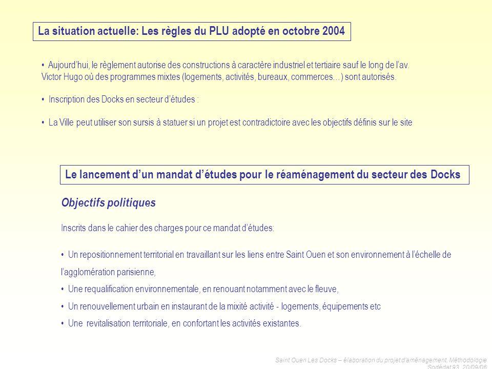 Saint Ouen Les Docks – élaboration du projet daménagement, Méthodologie Sodédat 93, 20/09/06 La situation actuelle: Les règles du PLU adopté en octobr