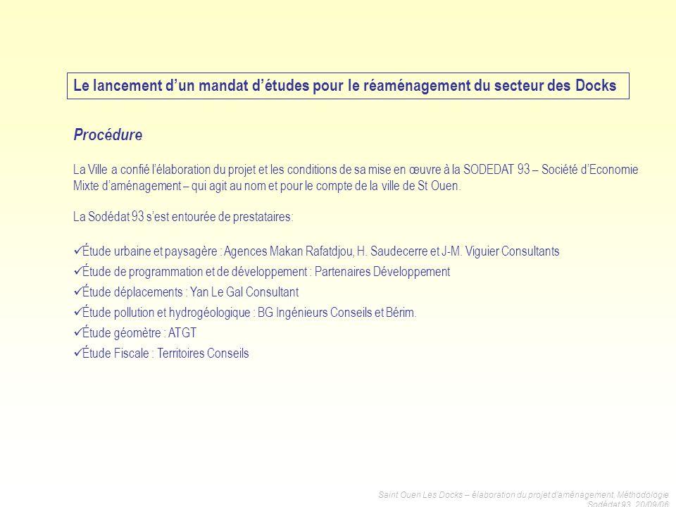 Saint Ouen Les Docks – élaboration du projet daménagement, Méthodologie Sodédat 93, 20/09/06 La Ville a confié lélaboration du projet et les condition