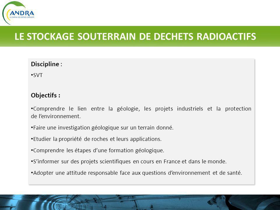 Discipline : SVT Objectifs : Comprendre le lien entre la géologie, les projets industriels et la protection de lenvironnement. Faire une investigation