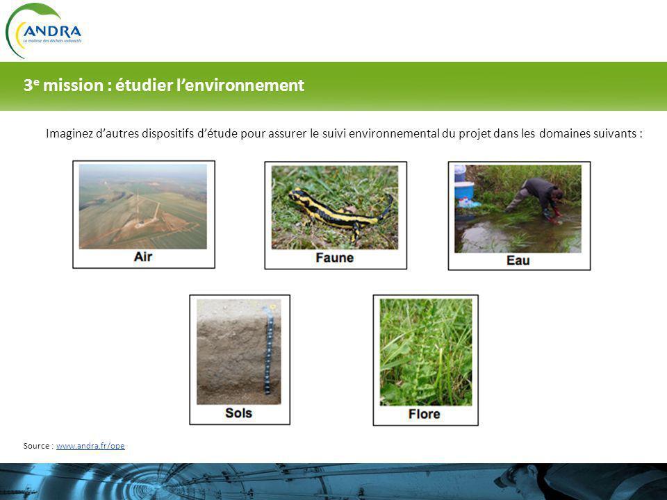 Imaginez dautres dispositifs détude pour assurer le suivi environnemental du projet dans les domaines suivants : 3 e mission : étudier lenvironnement