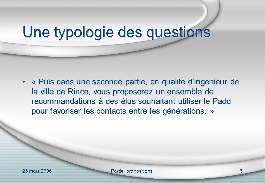 23 mars 2006Partie propositions 24 La méthode I.–I.1.