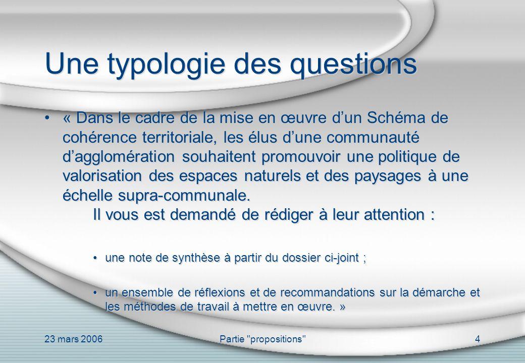 23 mars 2006Partie propositions 5 Une typologie des questions « Puis, dans une seconde partie, en qualité dingénieur de la ville de Kinet, vous établirez un ensemble de recommandations à l attention de décideurs territoriaux soucieux de gérer leurs communications en coût global.