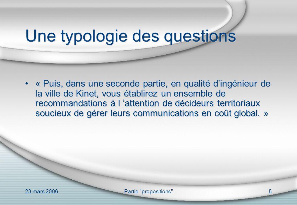 23 mars 2006Partie propositions 16 Structure générale I.