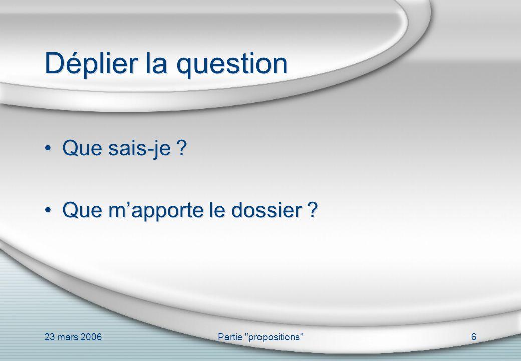 23 mars 2006Partie propositions 17 La problématique Objectifs Contexte Contraintes réglementaires Contraintes techniques