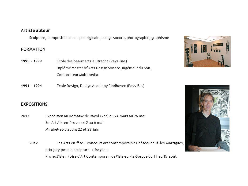 Artiste auteur Sculpture, composition musique originale, design sonore, photographie, graphisme FORMATION 1995 – 1999Ecole des beaux arts à Utrecht (P