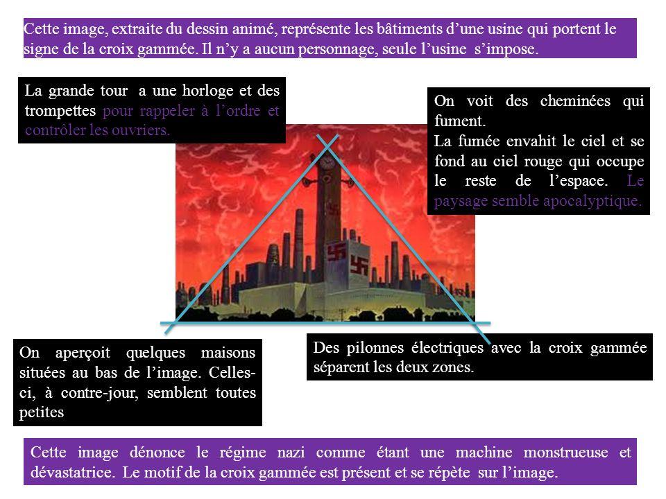 Cette image, extraite du dessin animé, représente les bâtiments dune usine qui portent le signe de la croix gammée.