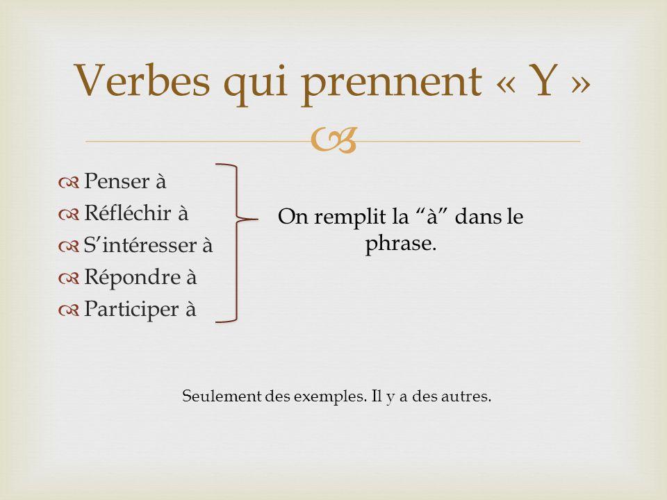 Penser à Réfléchir à Sintéresser à Répondre à Participer à Verbes qui prennent « Y » On remplit la à dans le phrase. Seulement des exemples. Il y a de