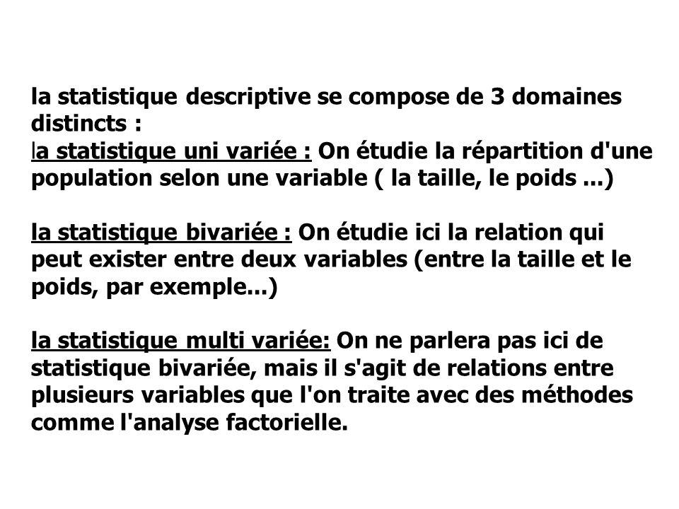 la statistique descriptive se compose de 3 domaines distincts : la statistique uni variée : On étudie la répartition d'une population selon une variab