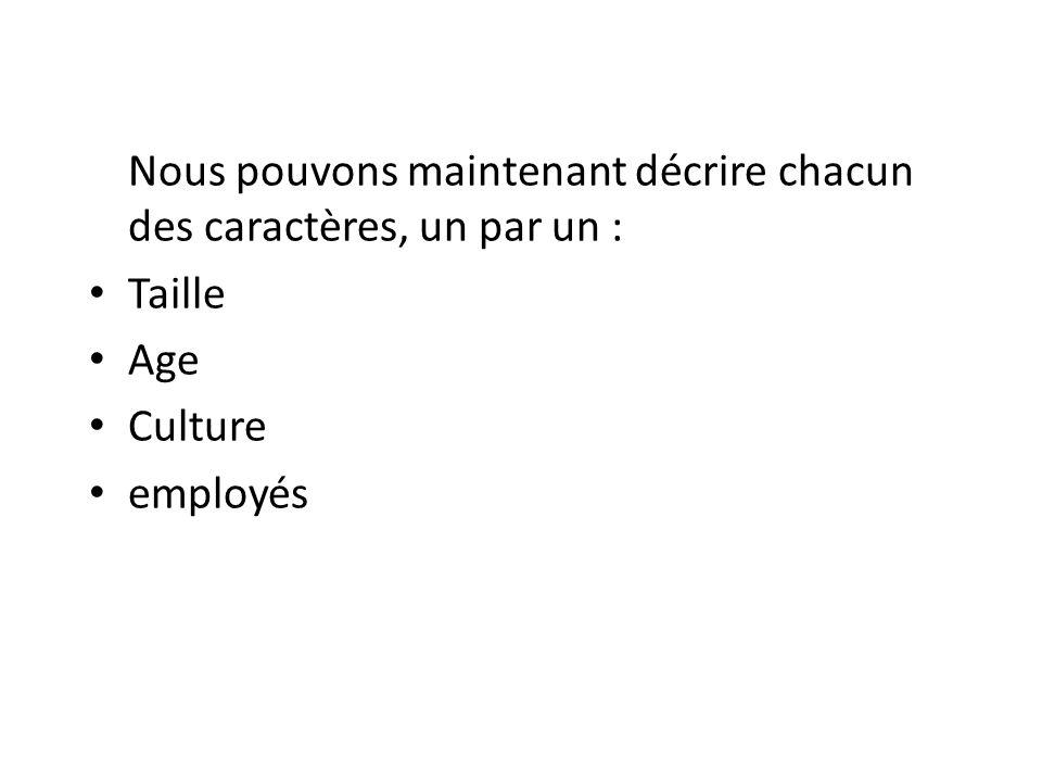Nous pouvons maintenant décrire chacun des caractères, un par un : Taille Age Culture employés