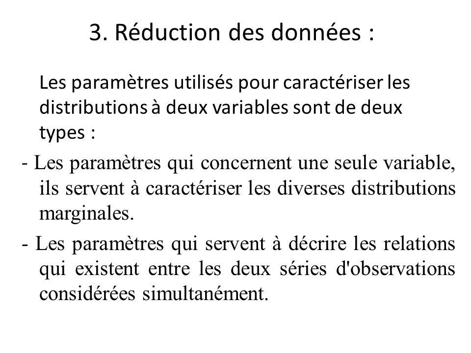 3. Réduction des données : Les paramètres utilisés pour caractériser les distributions à deux variables sont de deux types : - Les paramètres qui conc