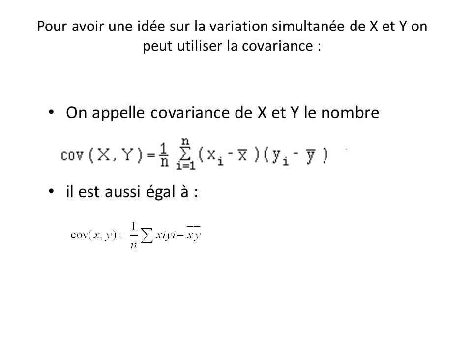 Pour avoir une idée sur la variation simultanée de X et Y on peut utiliser la covariance : On appelle covariance de X et Y le nombre il est aussi égal
