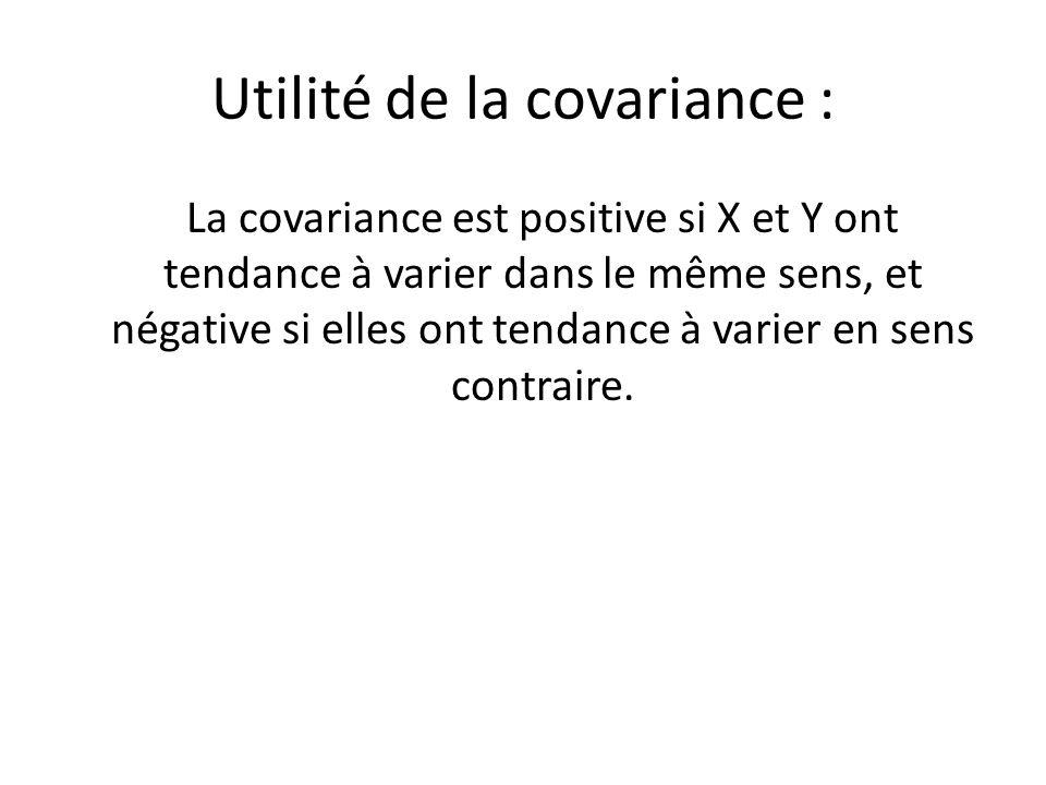 Utilité de la covariance : La covariance est positive si X et Y ont tendance à varier dans le même sens, et négative si elles ont tendance à varier en