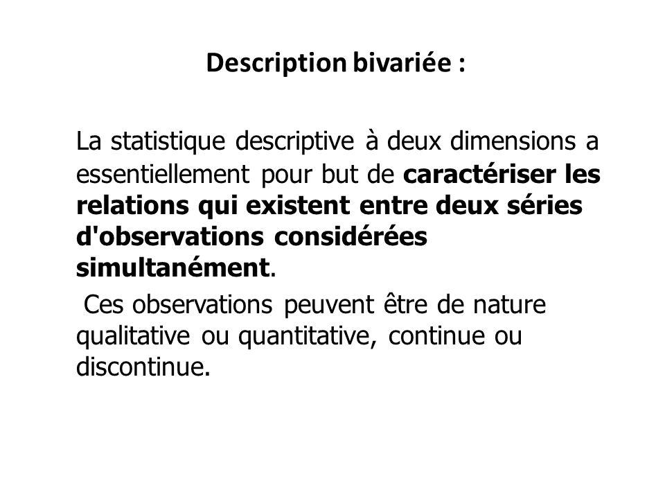 Description bivariée : La statistique descriptive à deux dimensions a essentiellement pour but de caractériser les relations qui existent entre deux s