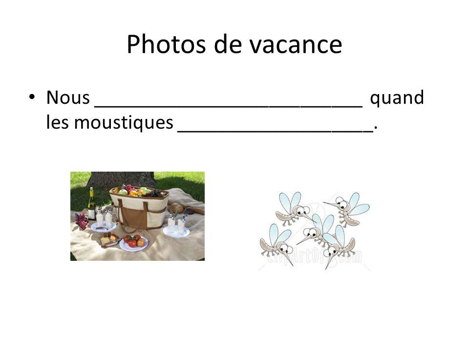 Photos de vacance Nous __________________________ quand les moustiques ___________________.