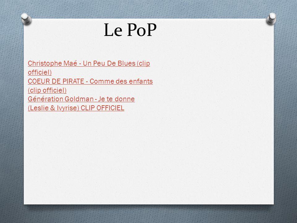 Le PoP Christophe Maé - Un Peu De Blues (clip officiel) COEUR DE PIRATE - Comme des enfants (clip officiel) Génération Goldman - Je te donne (Leslie &